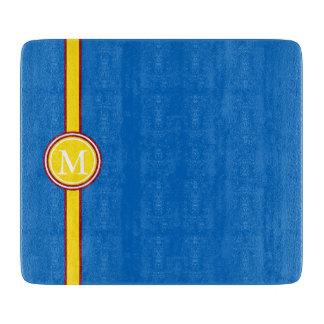 School Days Red Yellow Stripe Monogram on Blue Cutting Board
