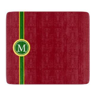 School Days Yellow Green Stripe Monogram on Red Cutting Board
