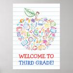 School Doodles Teachers Apple Poster