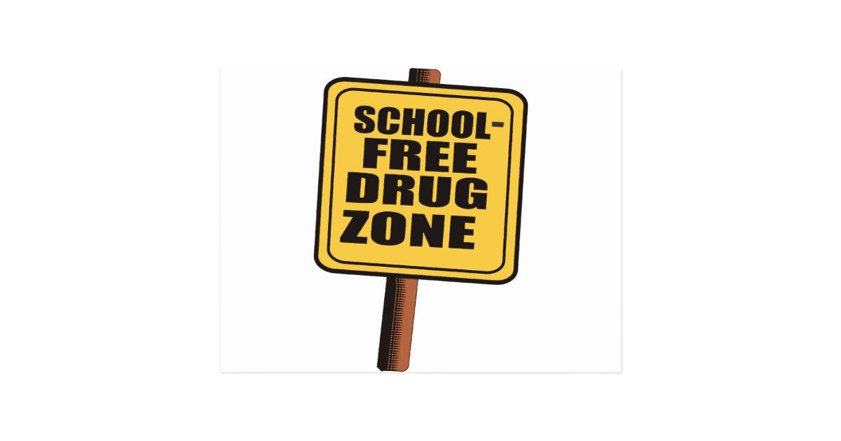 Citaten School Zone : School free drug zone postcard zazzle