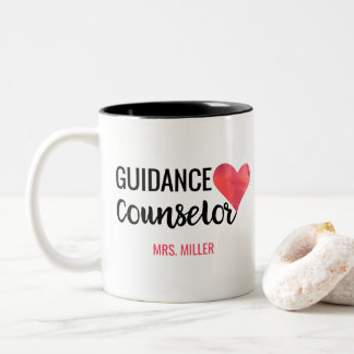School Guidance Counselor Personalized Watercolor Two-Tone Coffee Mug