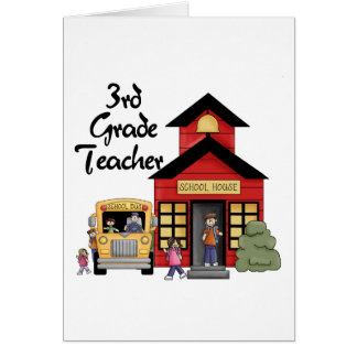 School House 3rd Grade Teacher Tshirts and Gifts Greeting Card