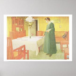 School Household, Dining Room Scene, pub. in 'Lass Poster