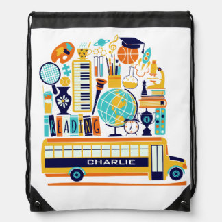 School Illustrations custom name kids' backpack