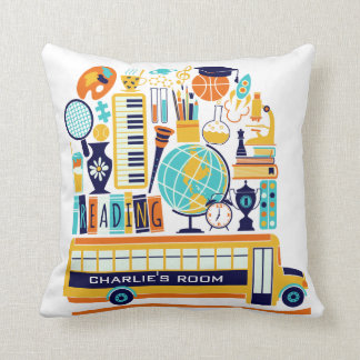 School Illustrations custom name throw pillows