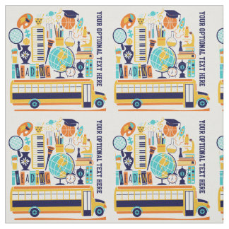 School Illustrations custom text fabric