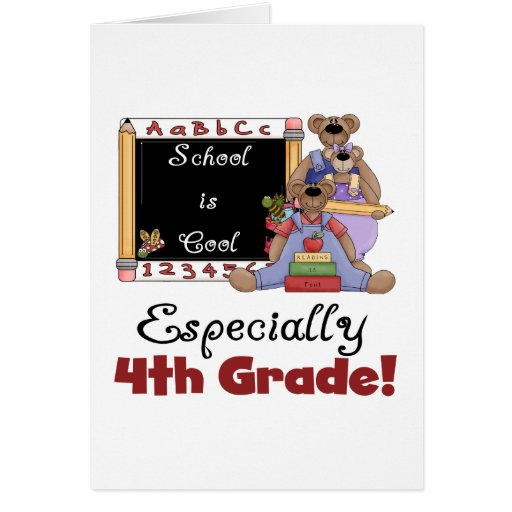 School is Cool 4th Grade Tshirts and Gifts Card