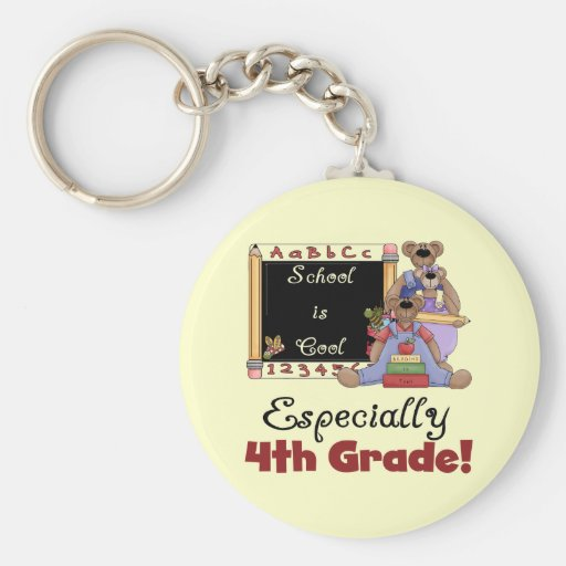 School is Cool 4th Grade Tshirts and Gifts Keychain