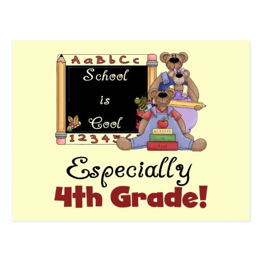 School is Cool 4th Grade Tshirts and Gifts Postcards