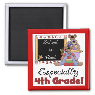 School is Cool 4th Grade Tshirts and Gifts Square Magnet