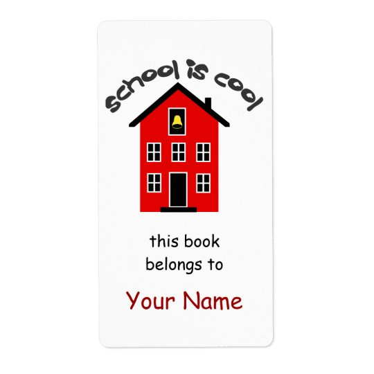 School is Cool Bookplate Label