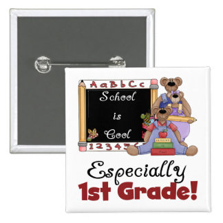 School is Cool Especially 1st Grade 15 Cm Square Badge