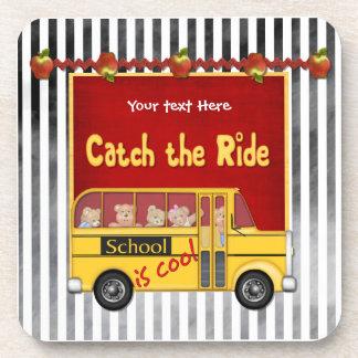 School is Cool School bus Beverage Coasters