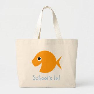 School Is IN Cute Cartoon Goldfish Teacher Bookbag Jumbo Tote Bag