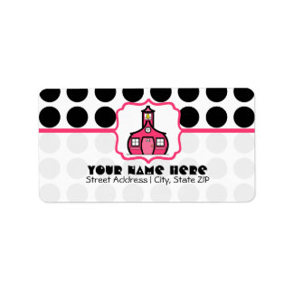 School Label For Teachers - Black Polka Dot & Pink