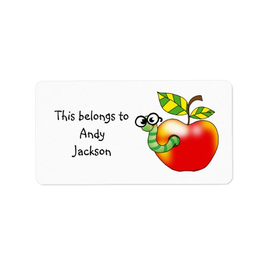 School Labels ( apple bookworm )
