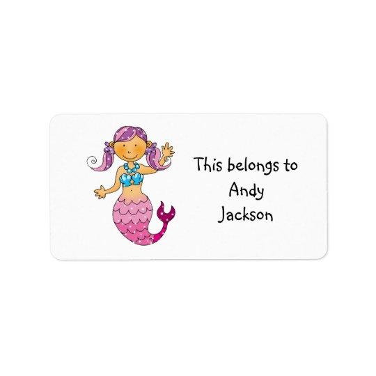 School Labels ( pink mermaid )