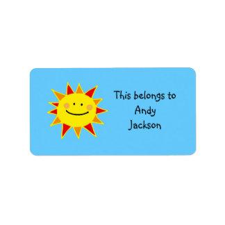 School Labels ( smiley sun )