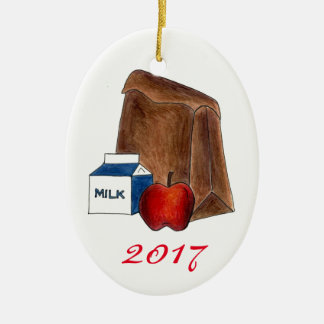 School Lunch Milk Apple Favorite Teacher Gift Christmas Ornament