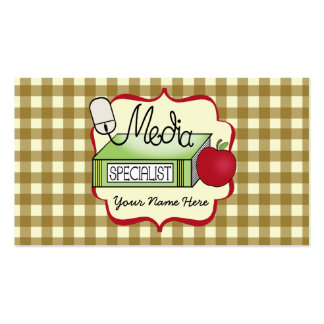 School Media Specialist Gingham Business Card