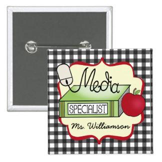 School Media Specialist - Gray Gingham 15 Cm Square Badge