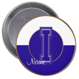School Monogrammed Button, Blue-White Letter I