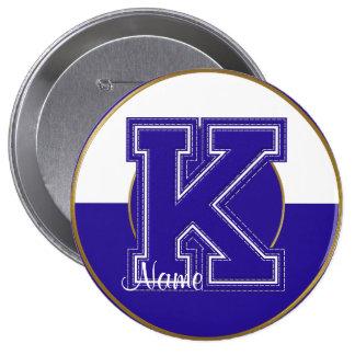 School Monogrammed Button, Blue-White Letter K