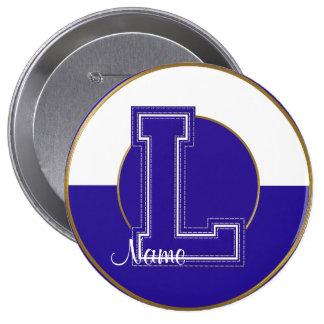 School Monogrammed Button, Blue-White Letter L