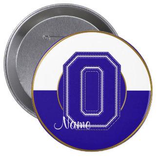 School Monogrammed Button, Blue-White Letter O