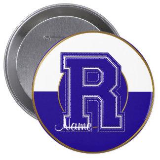 School Monogrammed Button, Blue-White Letter R