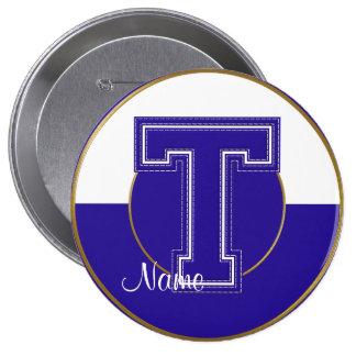 School Monogrammed Button, Blue-White Letter T