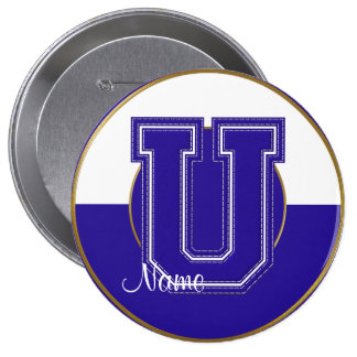 School Monogrammed Button, Blue-White Letter U