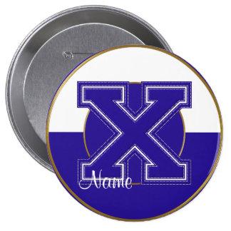 School Monogrammed Button, Blue-White Letter X