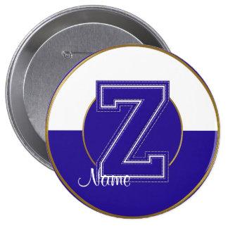 School Monogrammed Button, Blue-White Letter Z