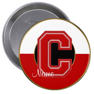 School Monogrammed Button, Red-White Letter C