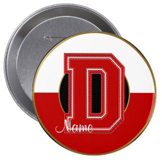 School Monogrammed Button, Red-White Letter D