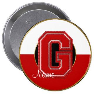 School Monogrammed Button, Red-White Letter G