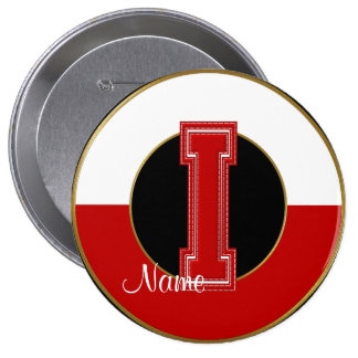 School Monogrammed Button, Red-White Letter I