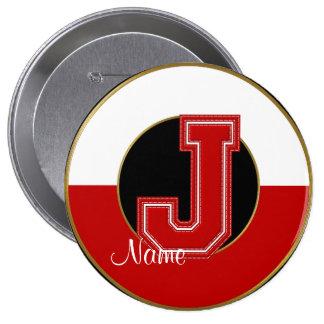 School Monogrammed Button, Red-White Letter J