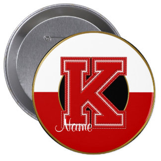 School Monogrammed Button, Red-White Letter K
