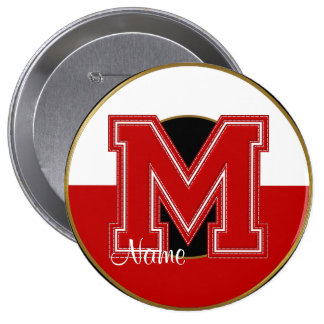 School Monogrammed Button, Red-White Letter M