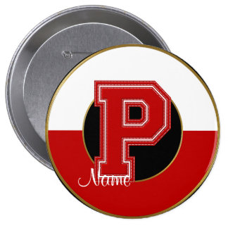 School Monogrammed Button, Red-White Letter P