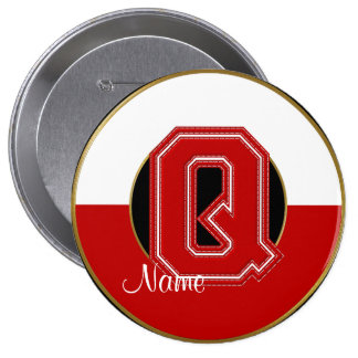 School Monogrammed Button, Red-White Letter Q