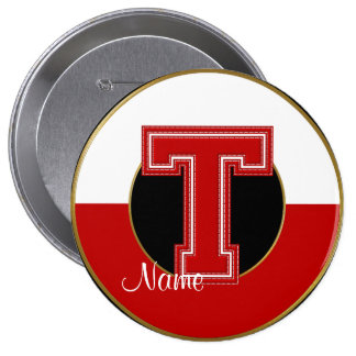 School Monogrammed Button, Red-White Letter T