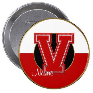 School Monogrammed Button, Red-White Letter V