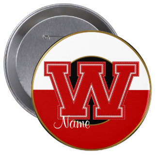 School Monogrammed Button, Red-White Letter W