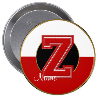 School Monogrammed Button, Red-White Letter Z
