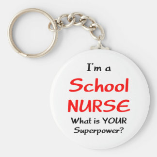 School nurse basic round button key ring