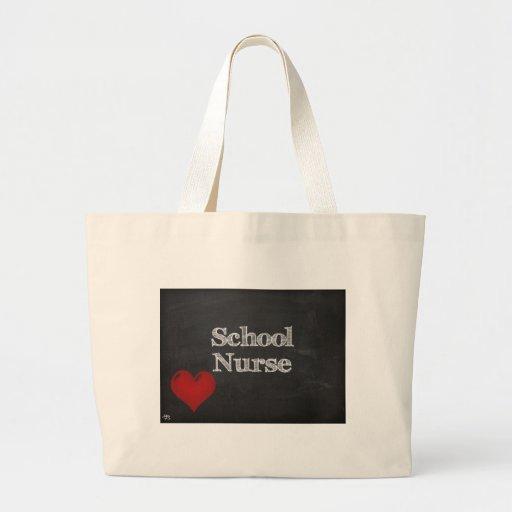 school nurse chalkboard tote bag with red heart