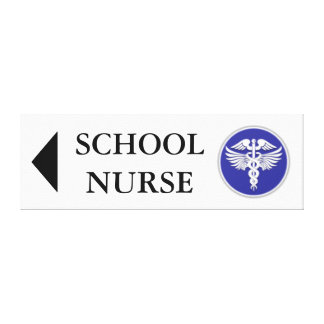 School nurse direction board | left stretched canvas prints